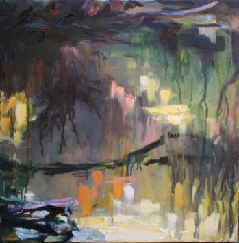 oil painting of woodland river in Courtown, Ireland