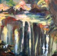 colourful woodland river painting in oil paint