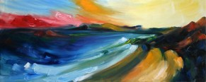 oil painting of Courtown beach with red evening sky
