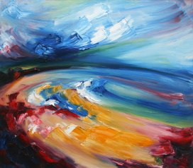 painting of Ballybunion beach with bold brushstrokes and colours