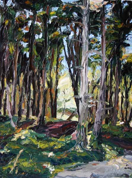 palette knife painting of woodland in summer in Ireland