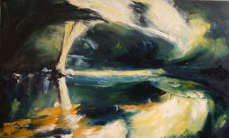 oil painting of dramatic light on a river-bend in Ireland