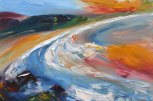 Irish beach painted with bold colours and textures
