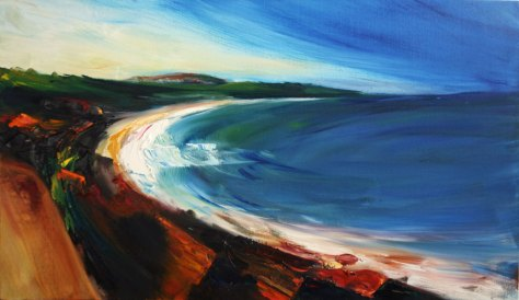 impressionist oil painting of Courtown beach and Tara Hill