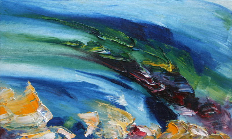 sweeping current in Altantic ocean painted in bold colours