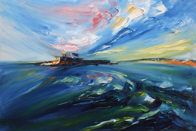 Seascape painting with brush and palette knife from the water in Tralee bay
