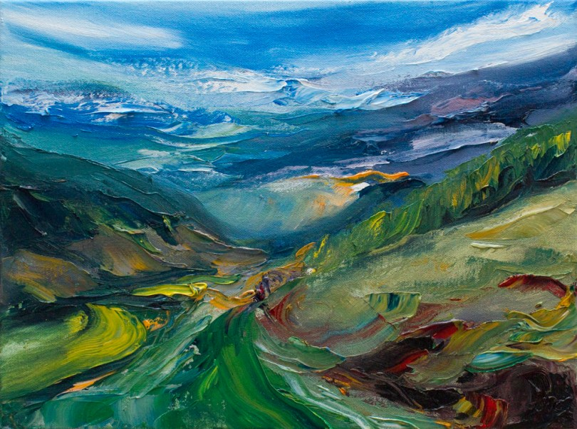 Glenmalure valley in Wicklow painted with great texture