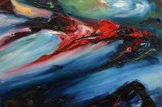 impasto oil painting of rich red coloured rocks on Irish beach