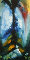 refected sky light in river surface, impressionist oil painting