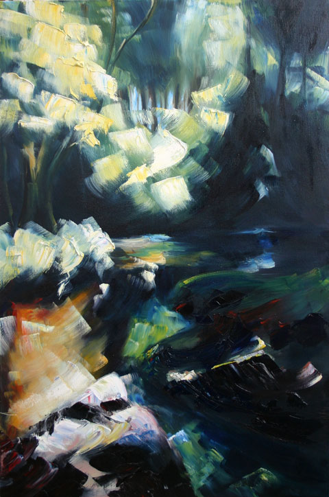 painting of bright light shining through tress on Ounavarra river