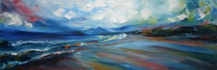 irish oil painting of a dramatic panorama of a windswept beach