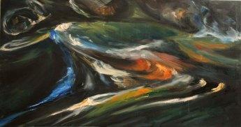 Irish oil painting of reflections on dark running water