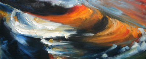 oil painting of bright orange refection on dark rushing water