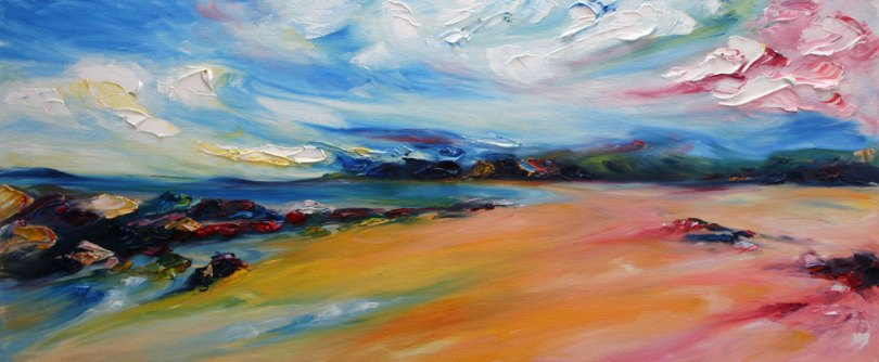 colourful windswept painting of Ballybunion beach