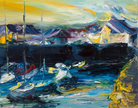 painting by Irish artist Kevin Roche of Courtown harbour looking towards the town