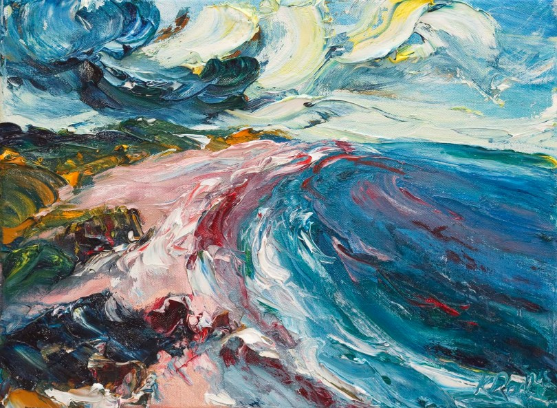 oil painting of Ballymoney beach in Wexford