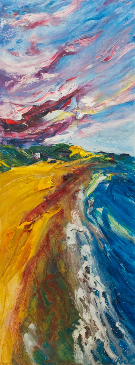 rich oil painting of waves washing onto Ballymoney beach