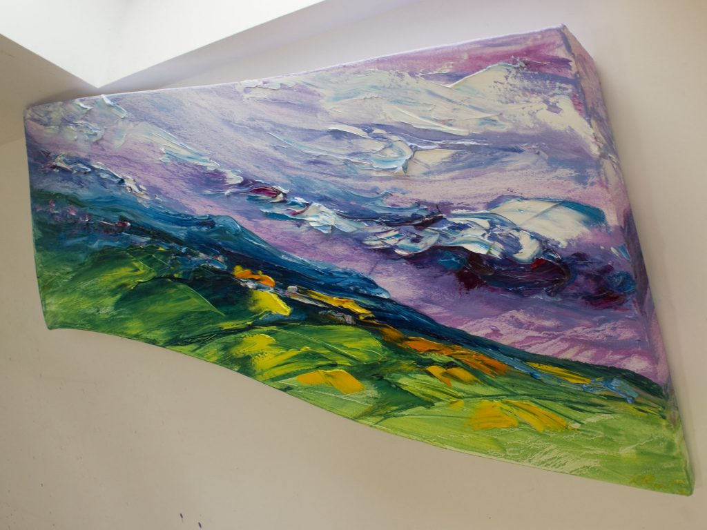landcape painting of view from Tara HIll looking towards Sliabh Bhui