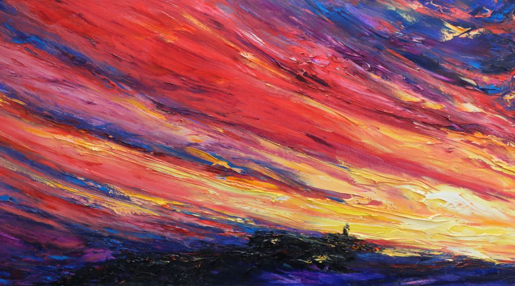 Painting of Hook Head with colourful sky