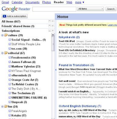 Google Reader organizes your RSS feeds and podcasts