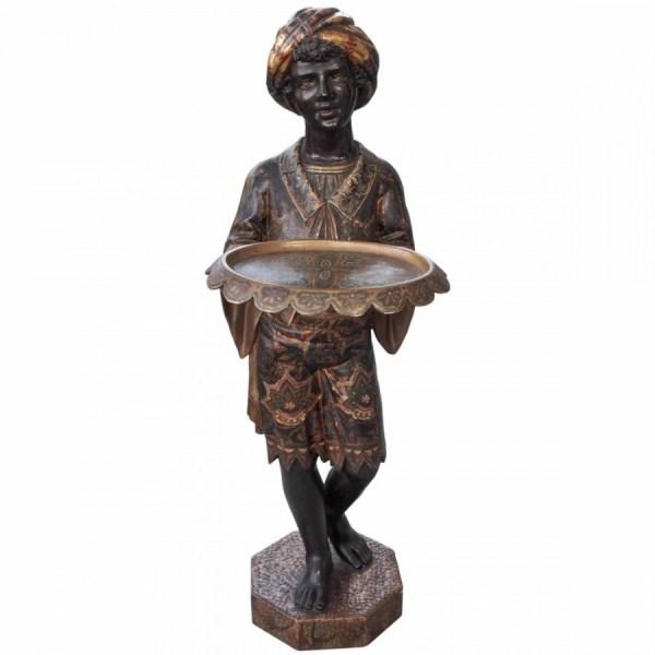 Venetian Polychrome Sculpture Of Blackamoor Holding Tray
