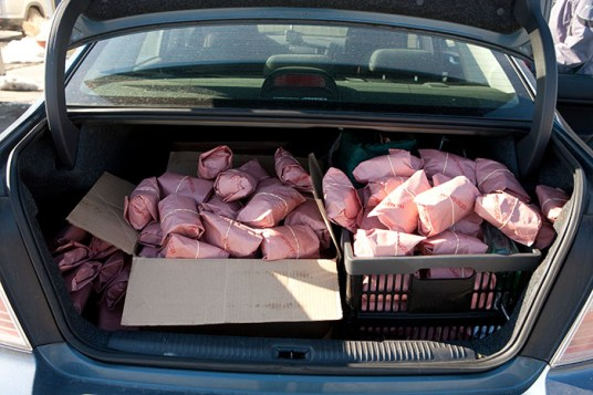 Here's the trunk of my car, overflowing with grass-fed beef. This will probably last a while.
