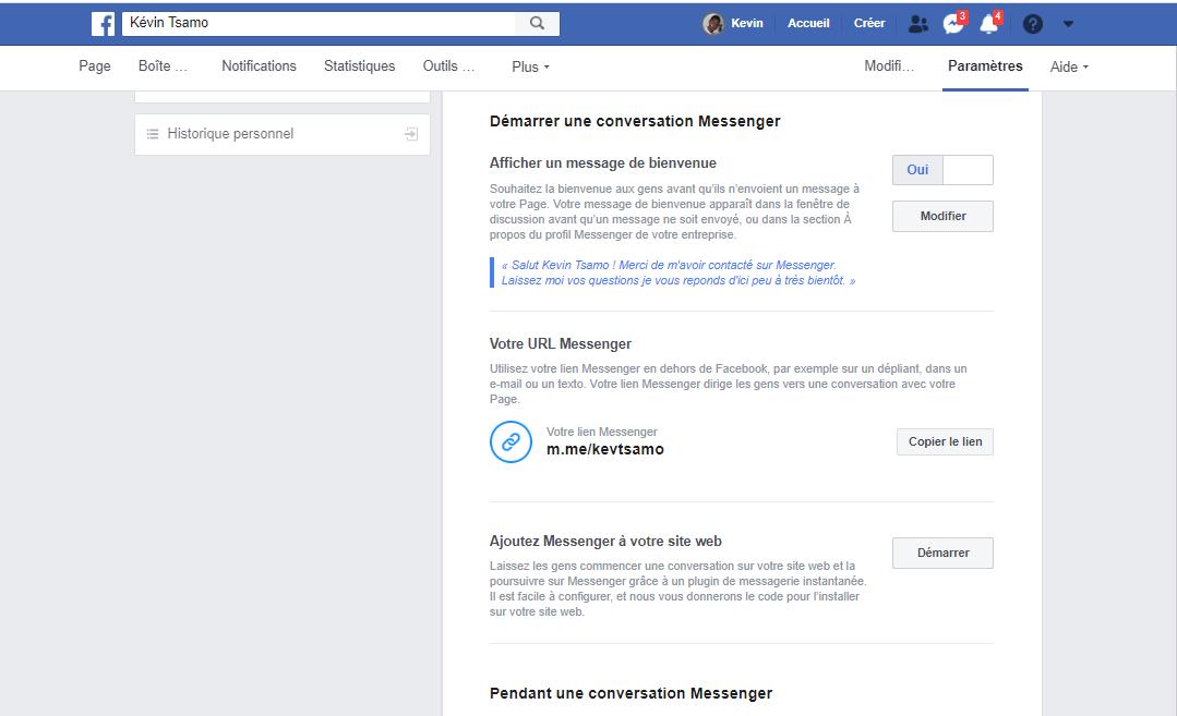 Configurer le Facebook Messenger