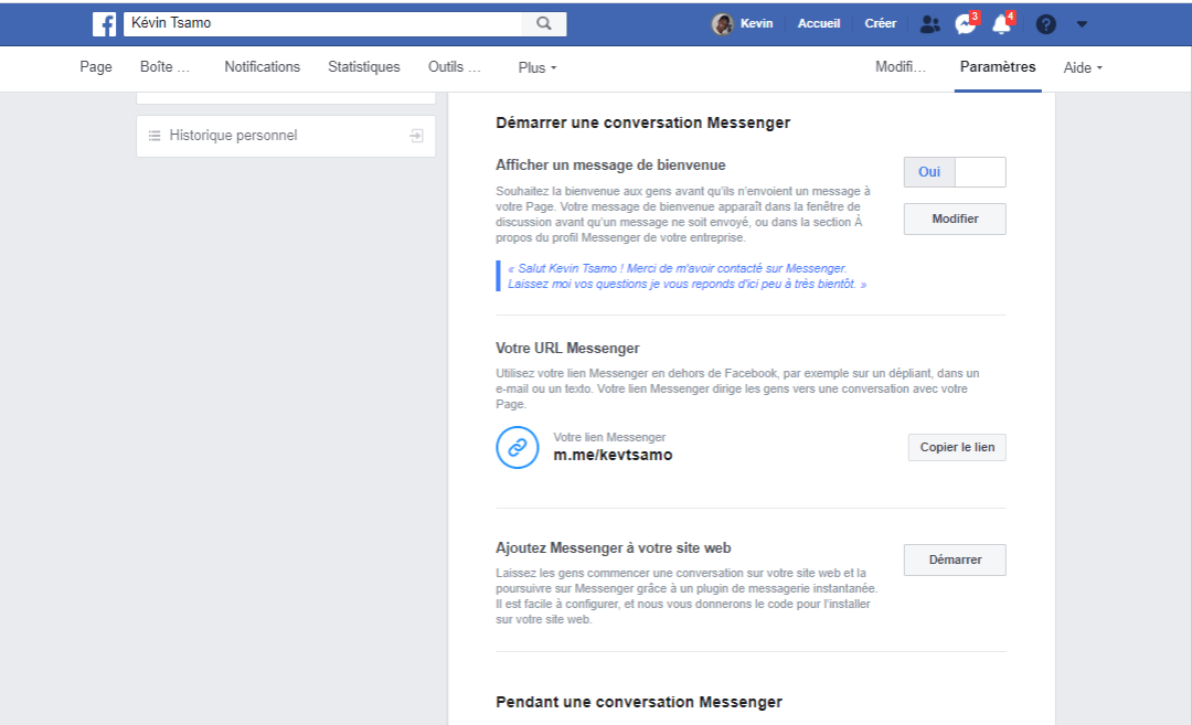 Configurer le Facebook Messenger