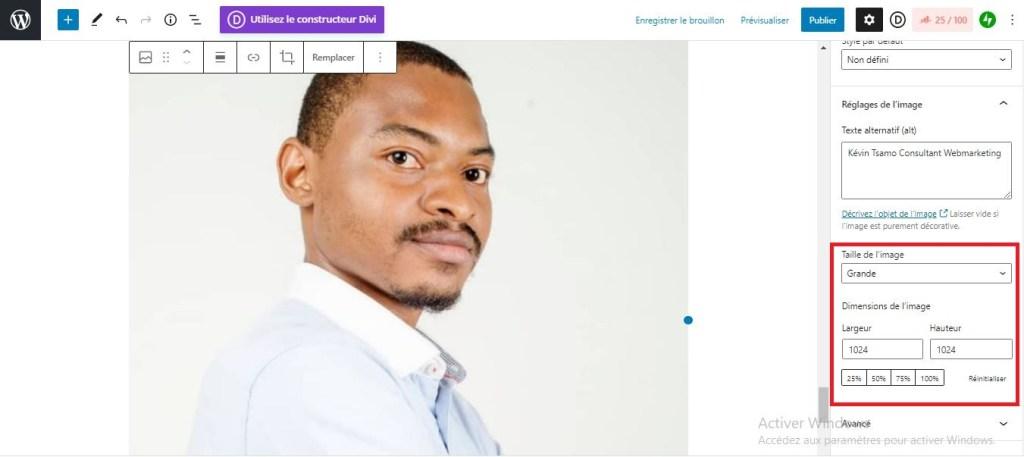Customisation de la taille de l'image dans l'éditeur WordPress
