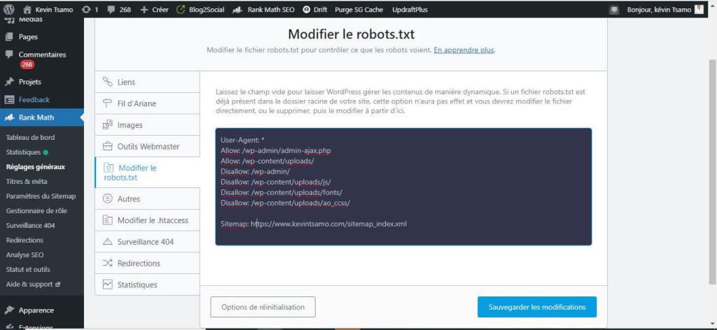 Modifier le fichier robots.txt