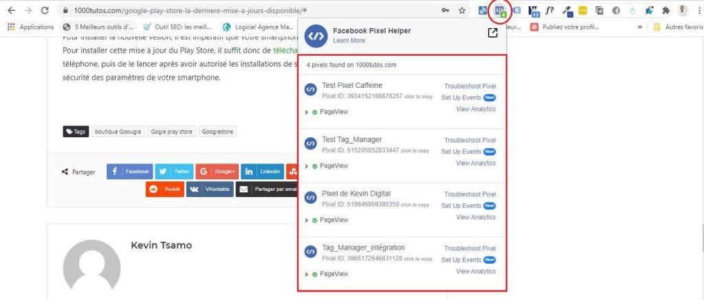 Virifier le pixel à l'aide de l'extension Facebook Pixel Helper