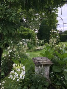 Renishaw white garden armillary spheres