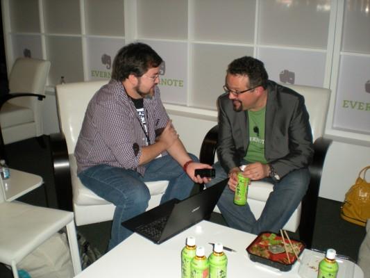 Juan Jesús Velasco y Phil Libin fundador de Evernote en la Evernote Trunk Conference 2012 en San Francisco (en ese momento era el CEO de la empresa)