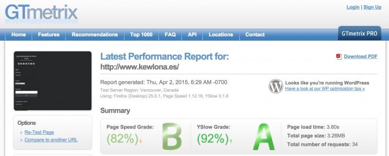 GTmetrix - mejorar la velocidad de WordPress