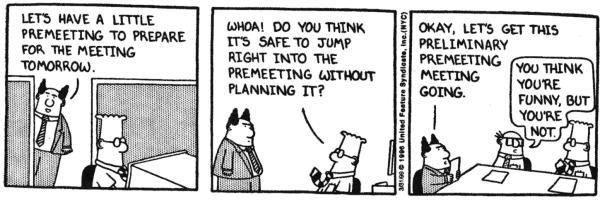 Reuniones en una startup - Dilbert reuniones