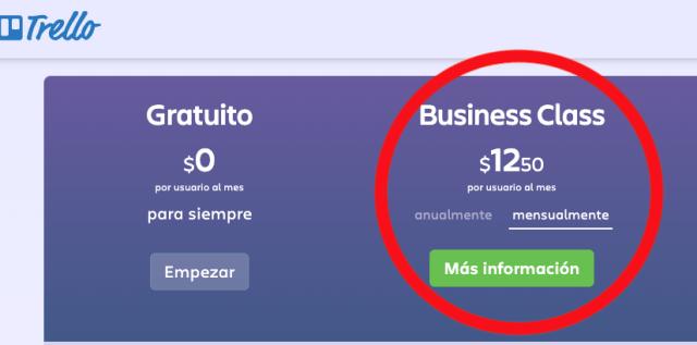 Trello coste por mes en pago mensual