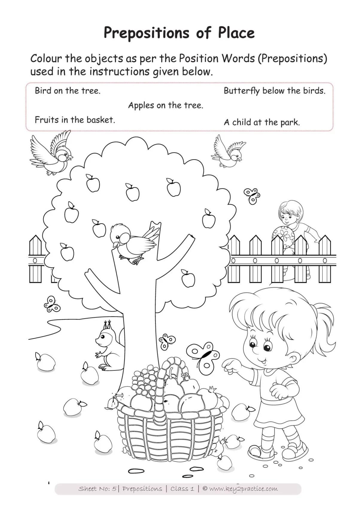 hight resolution of English Worksheets Grade 1 I Prepositions - key2practice Workbooks