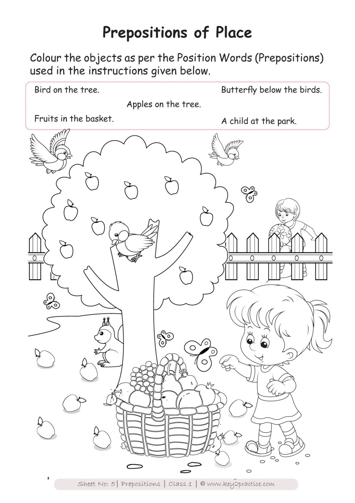small resolution of English Worksheets Grade 1 I Prepositions - key2practice Workbooks