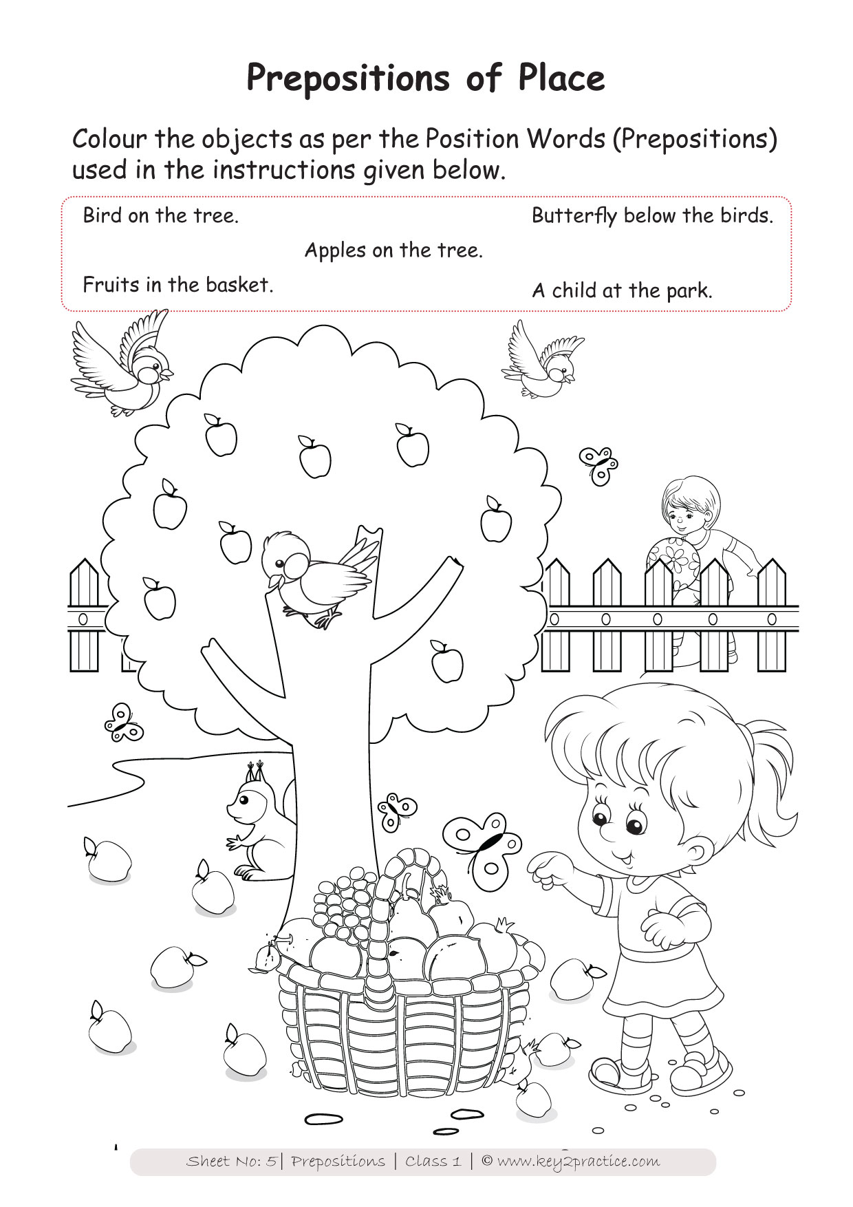English Worksheets Grade 1 I Prepositions
