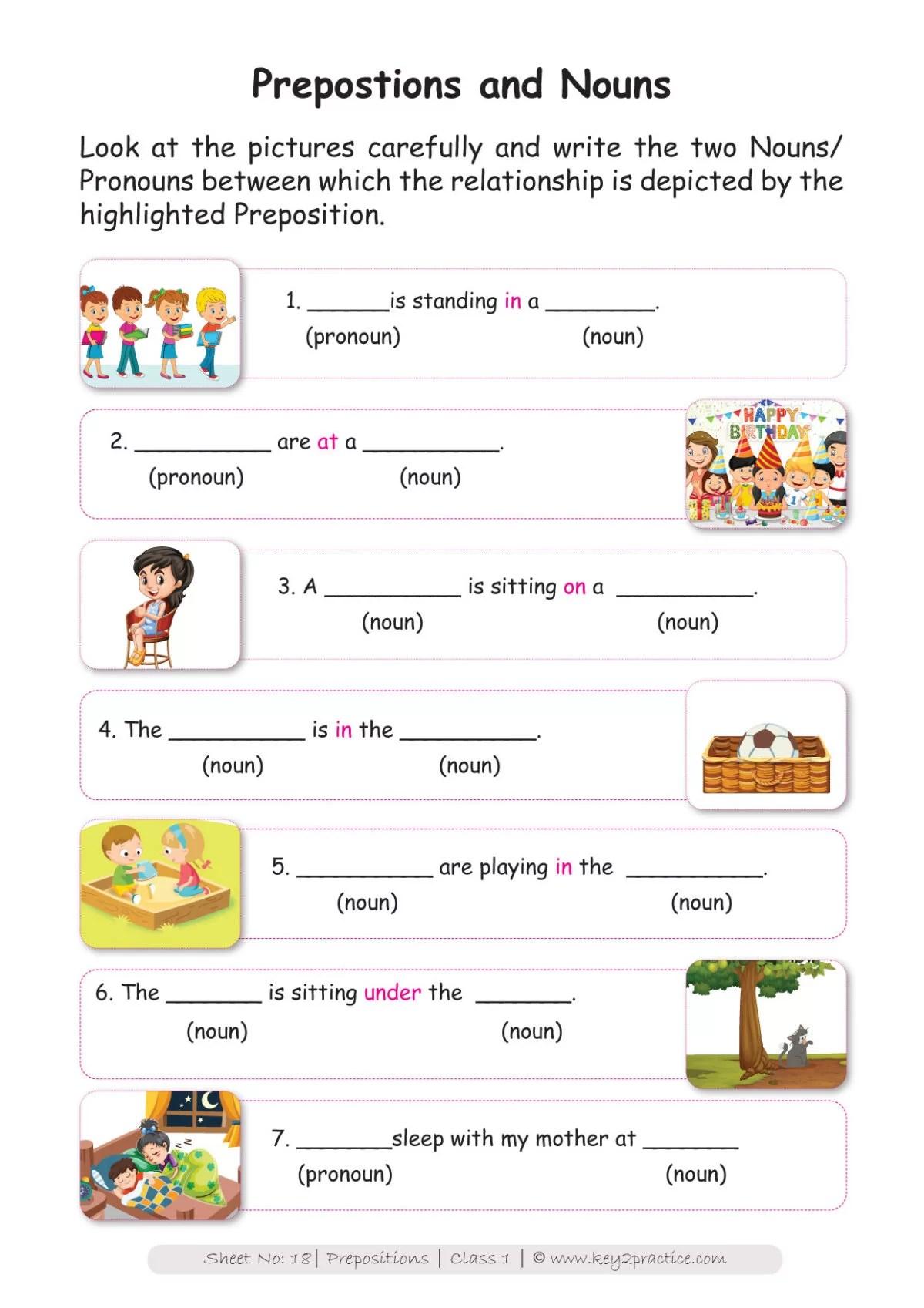 English Worksheets Grade 1 I Prepositions - key2practice Workbooks [ 1697 x 1200 Pixel ]