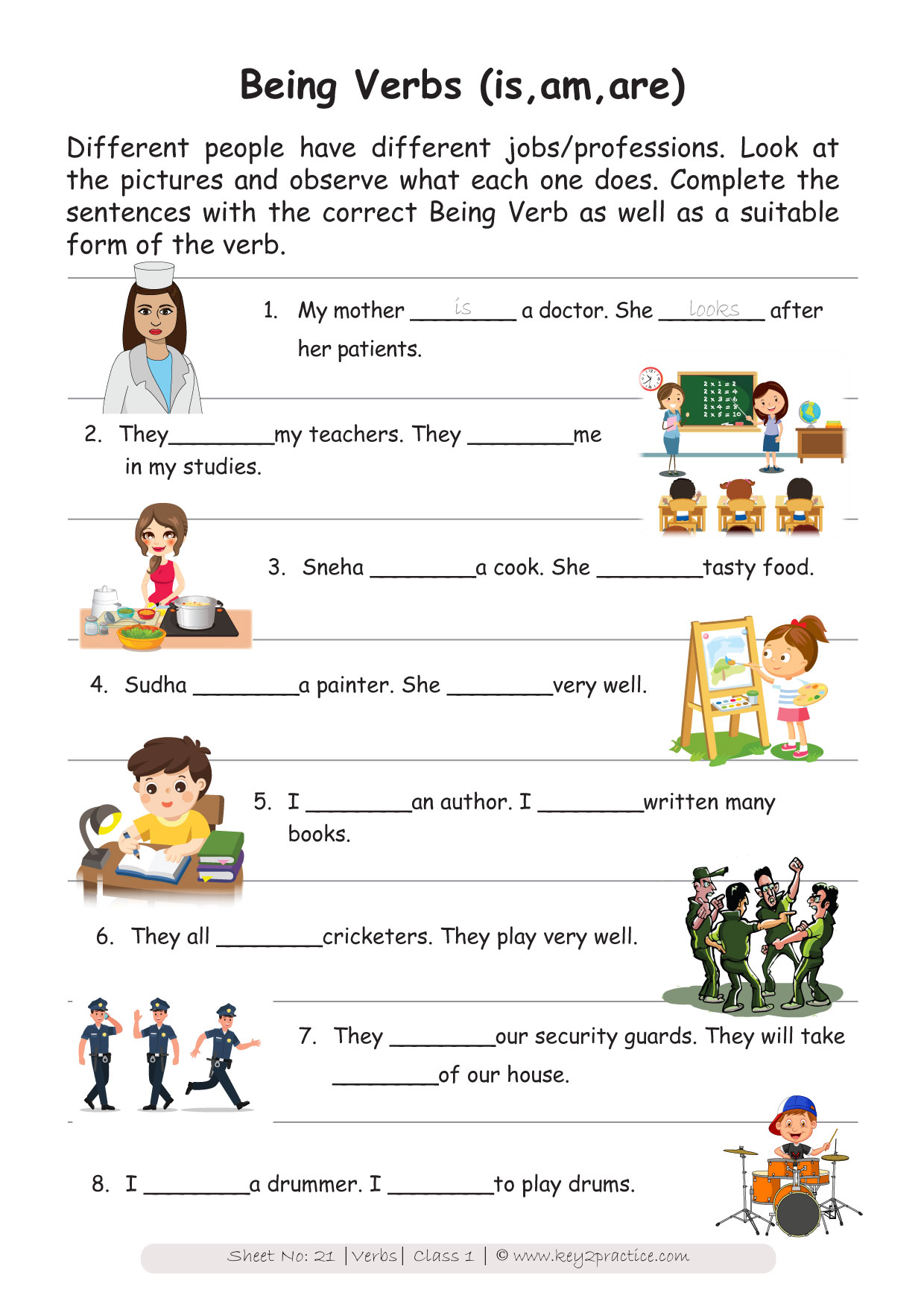 English Worksheets Grade 1 Chapter Verbs