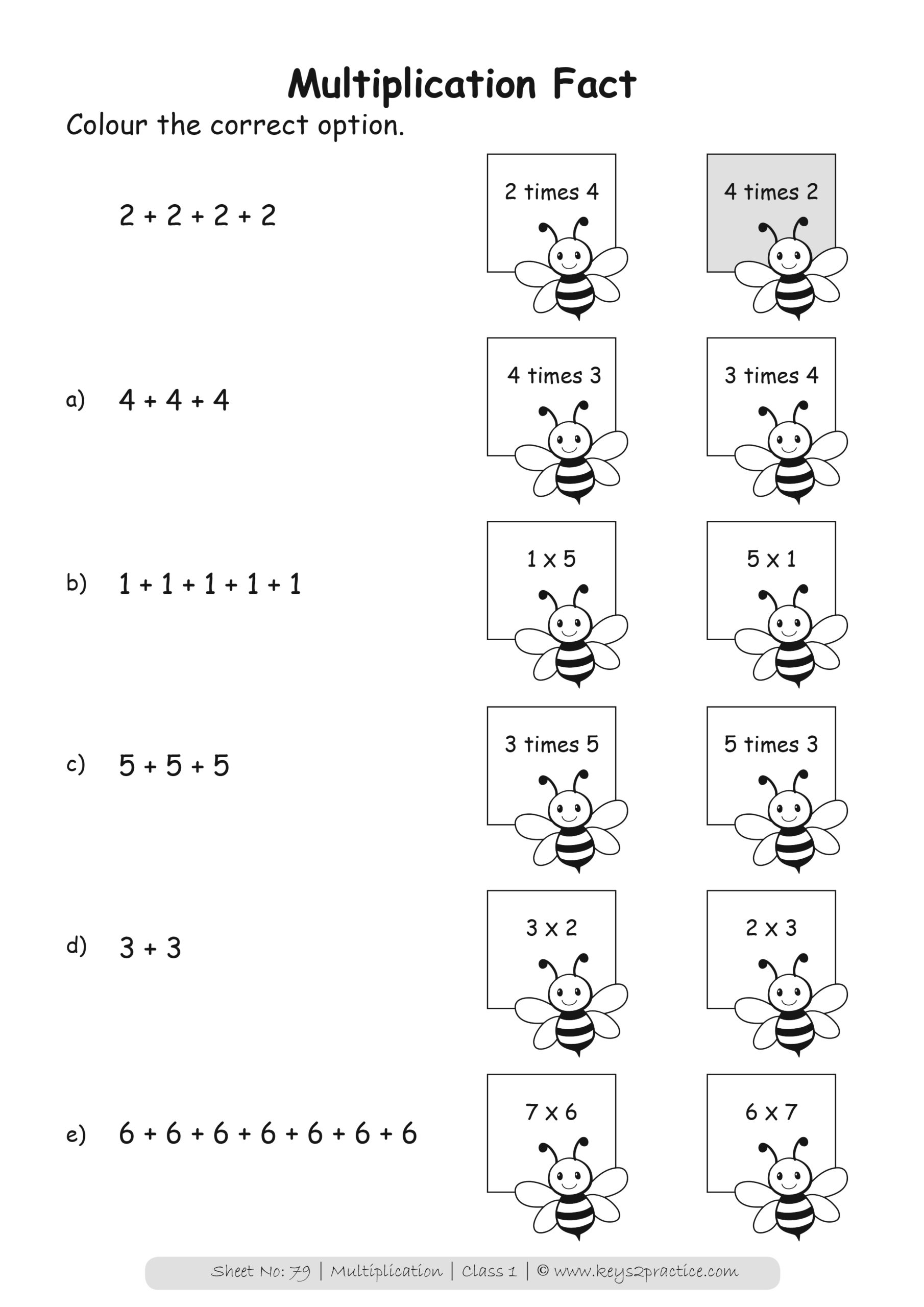 Maths Worksheets Grade 1 Multiplication