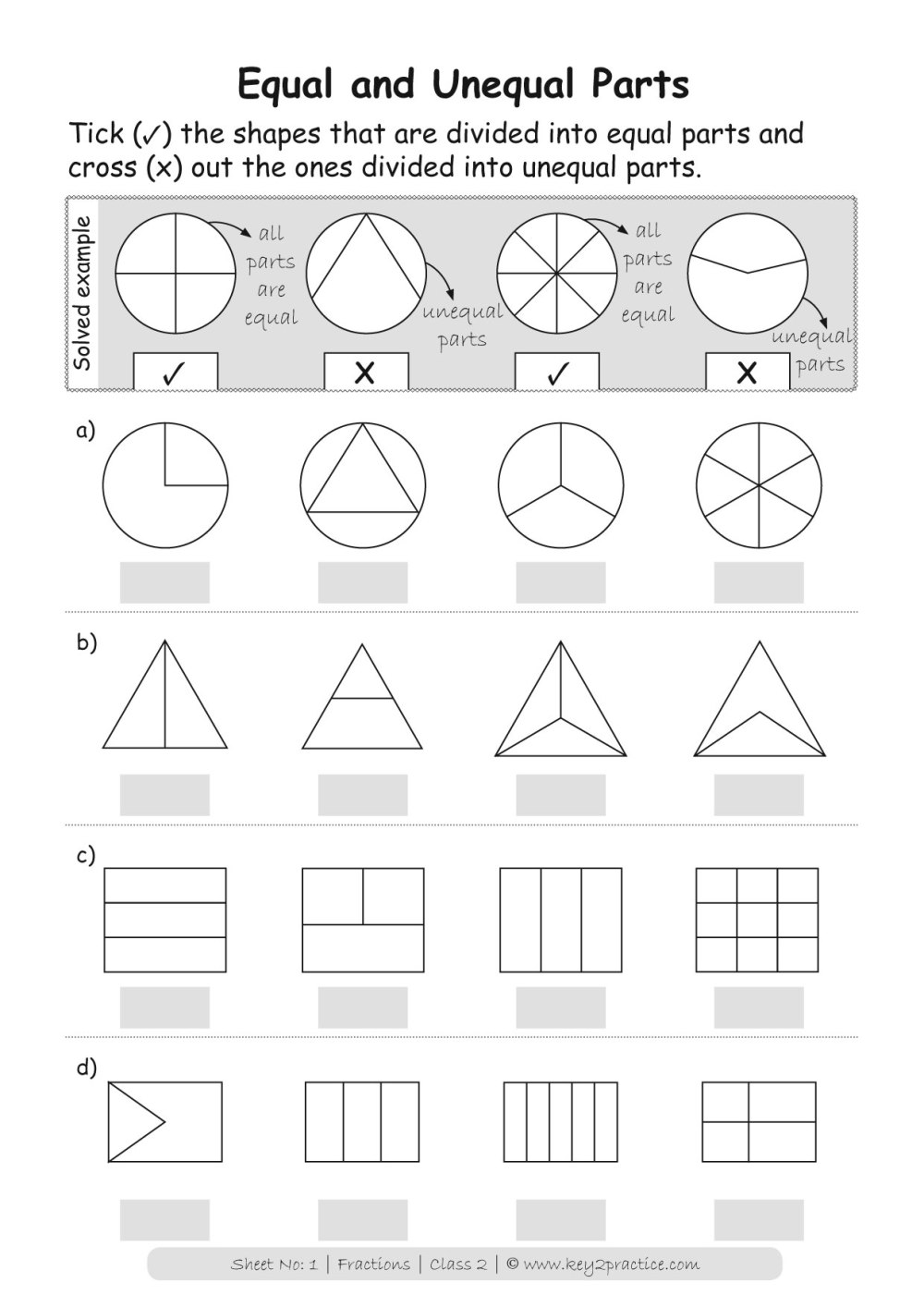 medium resolution of Fractions Worksheets Grade 2 I Maths - key2practice Workbooks
