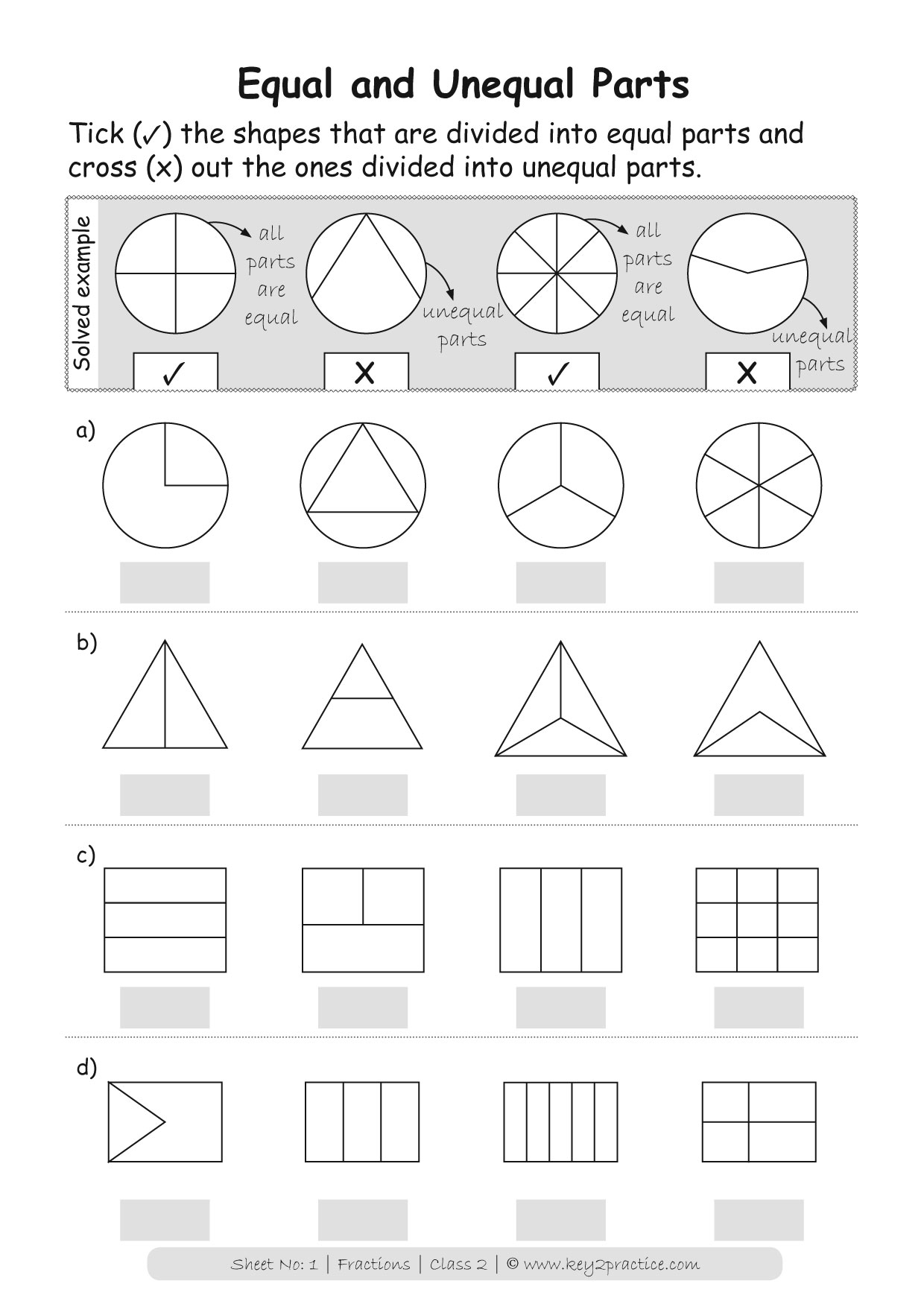 hight resolution of Fractions Worksheets Grade 2 I Maths - key2practice Workbooks