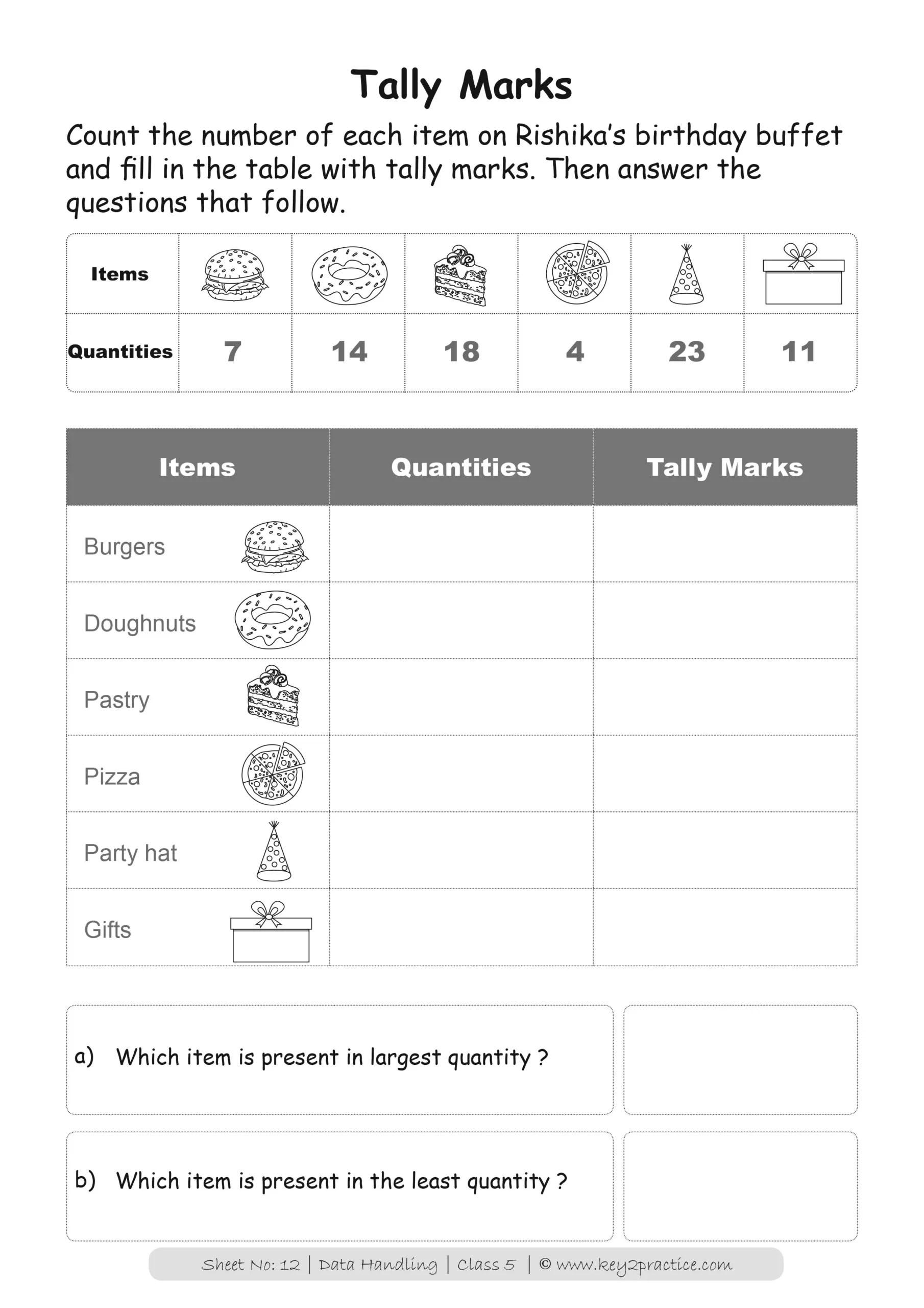Maths Worksheets Grade 5 I Data Handling