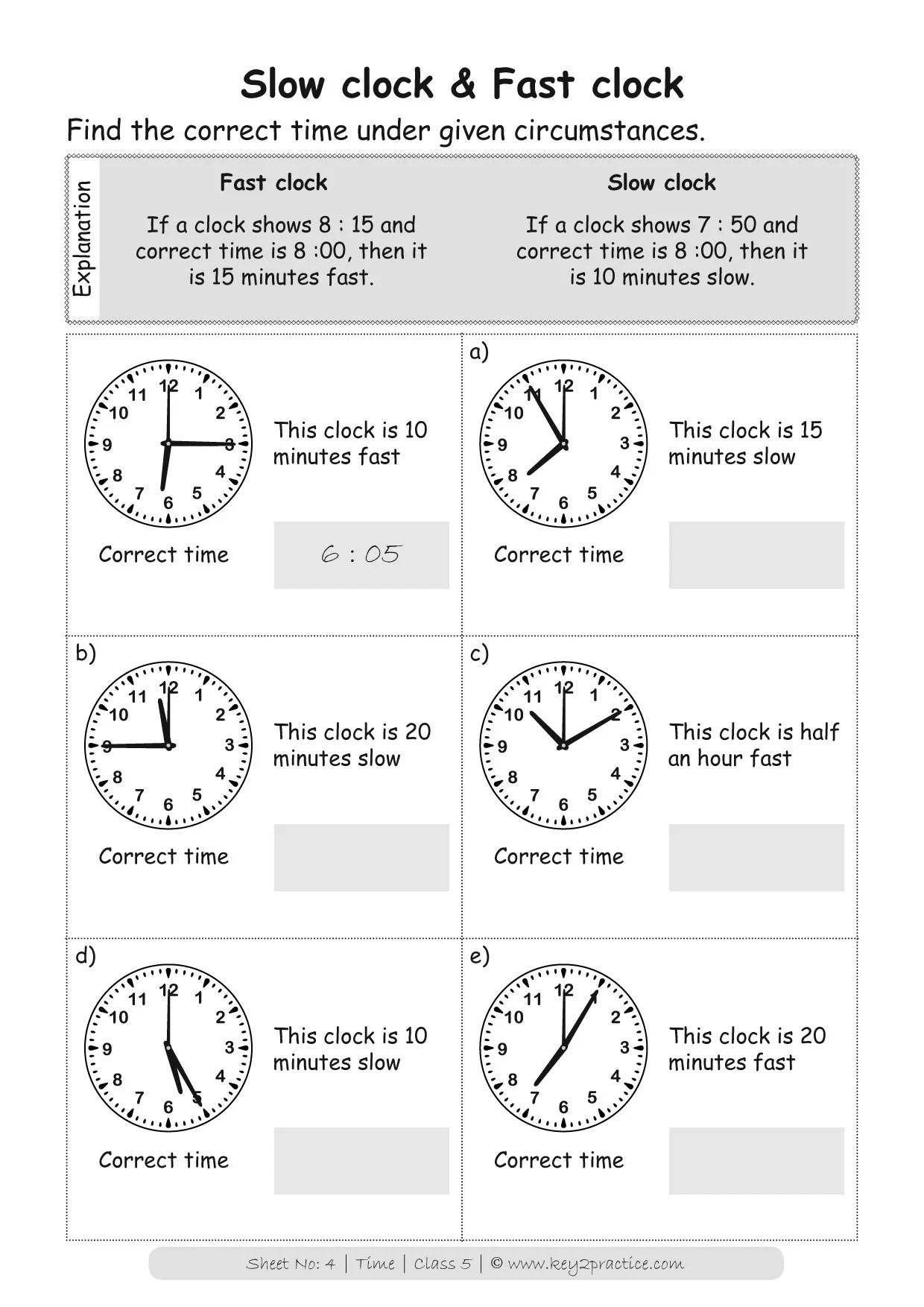 Maths Worksheets Grade 5 Chapter Time