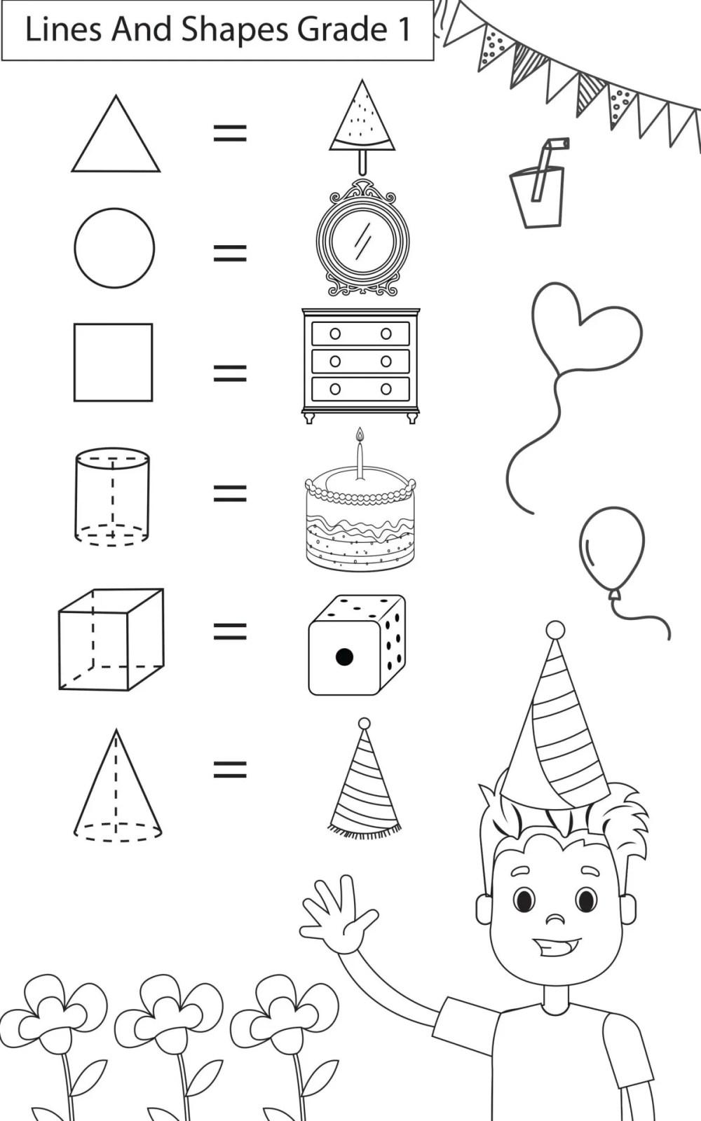 medium resolution of Maths Worksheets Grade 1 Lines \u0026 Shapes - key2practice Workbooks