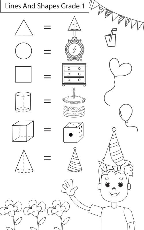 small resolution of Maths Worksheets Grade 1 Lines \u0026 Shapes - key2practice Workbooks
