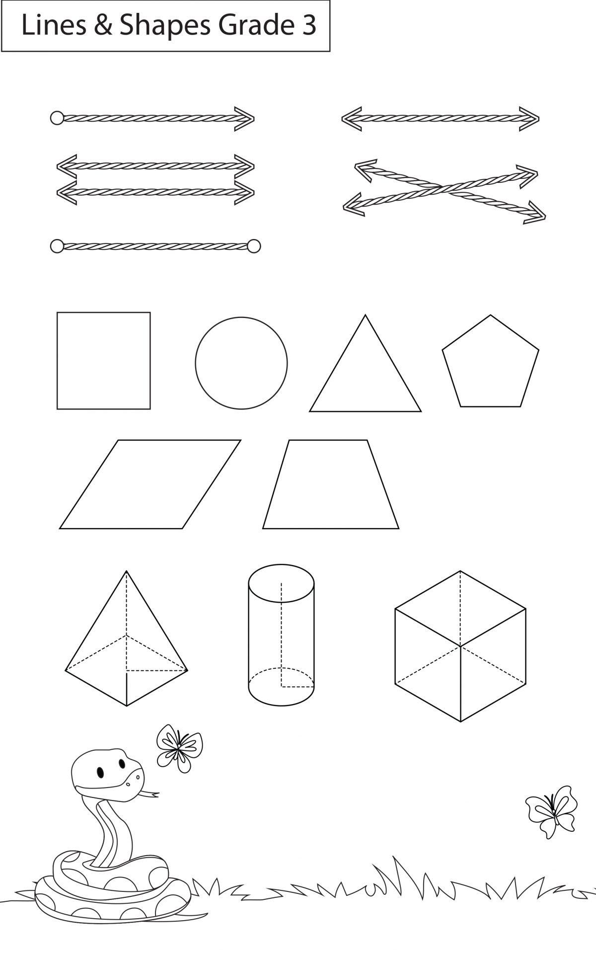 Maths Worksheets Grade 3 Lines And Shapes Workbook