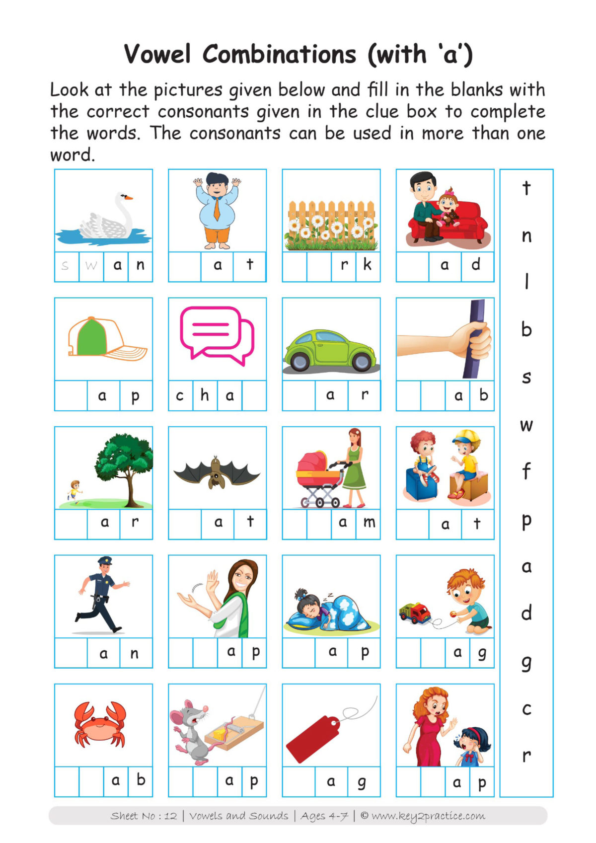 Vowels and Consonants Worksheets I Pre-primary classes - key2practice [ 1697 x 1200 Pixel ]